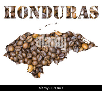 Roasted brown coffee beans background with the shape of the word Honduras and the country geographical map outline. - Stock Photo