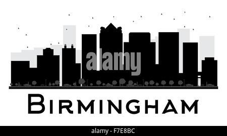 Birmingham City skyline black and white silhouette. Vector illustration. Simple flat concept for tourism presentation, - Stock Photo
