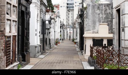 Tombs at La Recoleta cemetery Buenos Aires and pathway between. - Stock Photo