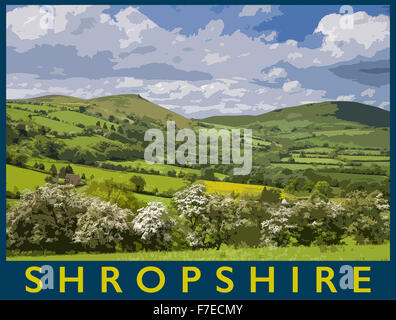 A poster style illustration from a photograph of The Hope Bowdler hills near Church Stretton in springtime, Shropshire, - Stock Photo