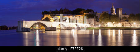 Bridge St. Benezet over the Rhone with Notre Dame des Doms and the Popes' Palace, UNESCO World Heritage Site, Avignon, - Stock Photo