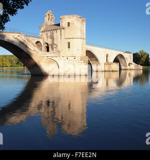 Bridge St. Benezet over the Rhone, UNESCO World Heritage Site, Avignon, Provence, Provence-Alpes-Cote d'Azur, Southern - Stock Photo