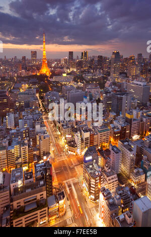 The skyline of Tokyo, Japan with the Tokyo Tower photographed at dusk.