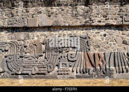 Relief at Pyramid of the Feathered Serpents, details, Ruins of Xochicalco, Cuernavaca, Morelos, Mexico - Stock Photo