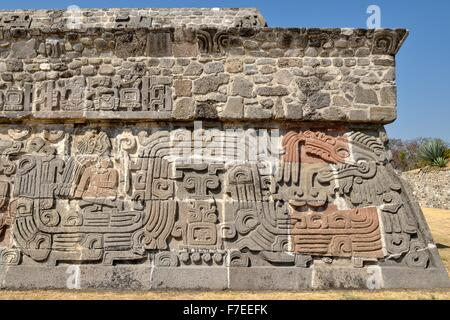 Pyramid of the Feathered Serpents, details, Ruins of Xochicalco, Cuernavaca, Morelos, Mexico - Stock Photo