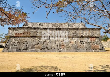 Pyramid of the Feathered Serpents, Ruins of Xochicalco, Cuernavaca, Morelos, Mexico - Stock Photo