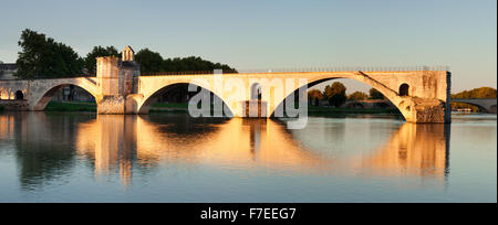 Bridge St. Benezet over the Rhone at sunrise, UNESCO World Heritage Site, Avignon, Provence, Provence-Alpes-Cote - Stock Photo