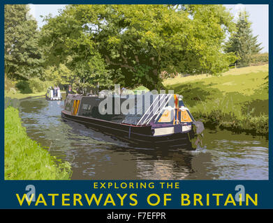 A poster style illustration from a photograph of Narrowboat on the Staffs & Worcester Canal near Kinver, Staffordshire, - Stock Photo