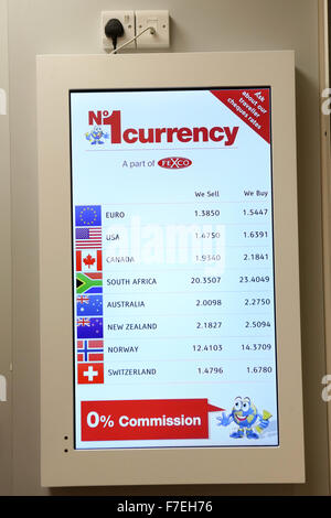 No 1 Currency Exchange shop , Crompton Place Shopping Centre , Bolton. Exchange rate board. - Stock Photo