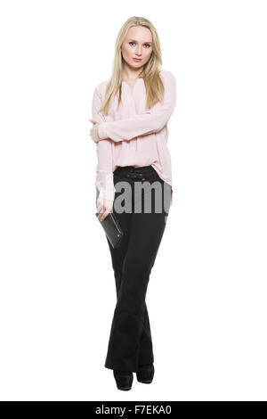 girl in pants and blous.  partial barrier formed by his hands. incomplete. Isolated on white background. body language. - Stock Photo