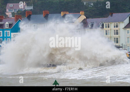 Aberystwyth Wales UK, Monday 30 November 2015  UK weather: For the third day in succession Storm Clodagh's gale - Stock Photo