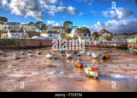 Paignton harbour Devon England uk in colourful HDR with boats at low tide and near Torquay - Stock Photo