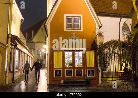 Old Town by night. Tallinn, Estonia - Stock Photo
