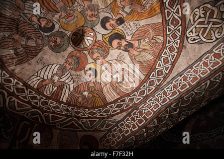 A fresco of the nine Syrian saints in Abuna Yemata Guh church in Hawzen, Tigray, Ethiopia - Stock Photo