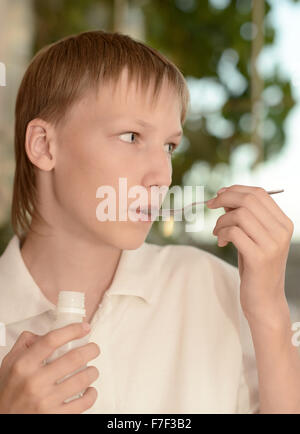 Little boy fell ill with a cold - Stock Photo