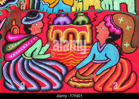 Embroidery Detail Of Two Traditionally Dressed Peruvian Ladies On A Tapestry - Stock Photo