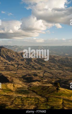 View of landscape from Ashen Maria Monastery at dusk, Lalibela, Ethiopia - Stock Photo