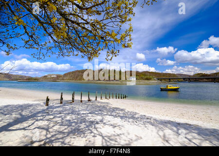 Picturesque Scottish beach - The Silver Sands of Morar on the North West coast close to Fort William - Stock Photo