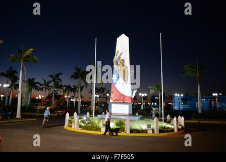 A view of the illuminated memorial for Salvador Allende at the Port Salvador Allende in Managua, Nicaragua, 27 November - Stock Photo