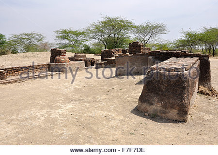 Gujarat,Lothal,ruins of ancient city,Lothal Indus Valley Civilization - Stock Photo