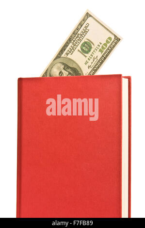 Angled Red Book With Blank Cover and Money - Stock Photo
