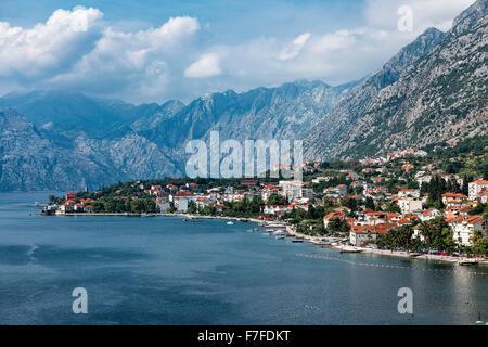 Coastal town of Kotor, Bay of Kotor, Montenegro - Stock Photo