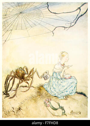 'Little Miss Muffet' from 'Mother Goose - The Old Nursery Rhymes' illustration by Arthur Rackham (1867-1939). See - Stock Photo