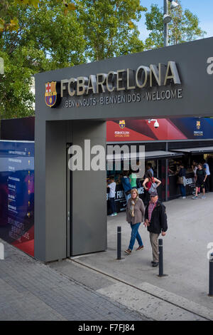 Entrance to the official stores of FC Barcelona inside Camp Nou complex - Barcelona, Catalonia, Spain - Stock Photo