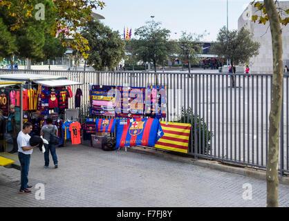 Souvenir stall outside FC Barcelona Camp Nou complex - Barcelona, Catalonia, Spain - Stock Photo