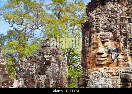 Faces of Bayon Temple, Angkor Thom, Cambodia, Asia - Stock Photo