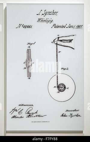 J Syrcher Whirligig (Yo-yo) patent diagram, circa 1847 - Stock Photo