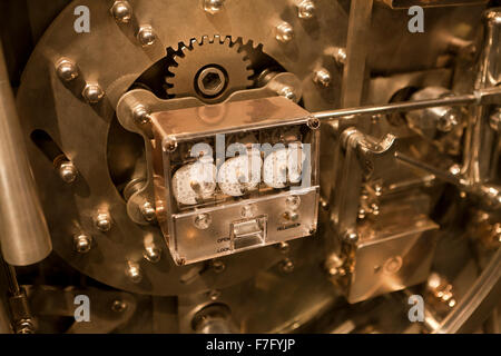 Bank vault door lock mechanism - USA - Stock Photo