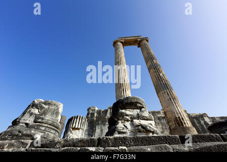 Ionian stone Columns in the ruins of the Temple of Apollo at Didyma, an ancient Greek sanctuary - Stock Photo
