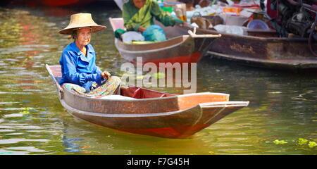 Thailand Floating Market Tha Kha near Bangkok, Thailand - Stock Photo