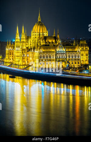View of Budapest parliament at night, Hungary - Stock Photo