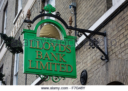 Unusual Lloyds Bank Limited sign outside a branch in Bury St Edmunds, Suffolk - Stock Photo