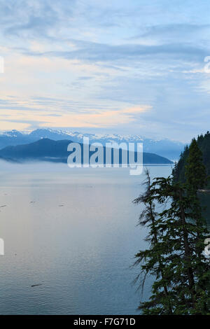 View down Douglas Channel from Bish Creek Forest Service road, near Kitimat, British Columbia - Stock Photo