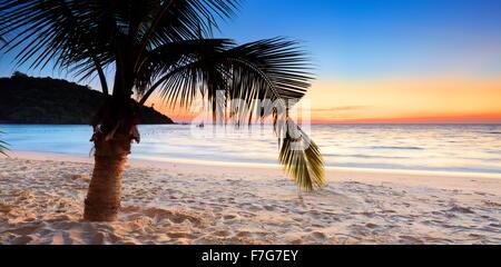 Beach at Koh Samet Island after sunset, Thailand