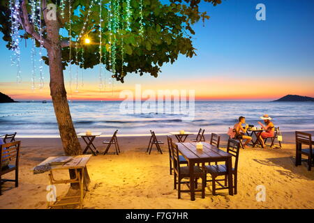 Tropical Restaurant on the beach in Lima Coco Resort, Koh Samet Island, Thailand - Stock Photo