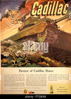Life Magazine, September 27, 1948: WWII vintage advertising for Cadillac built M-24 tank showing battle action. - Stock Photo