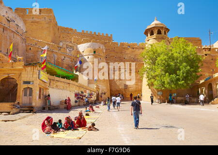 The entrance gate leads to the Jaisalmer Fort, Jaisalmer, Rajasthan, India - Stock Photo