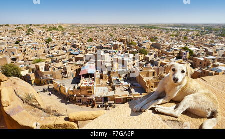 View from the top of Jaisalmer Fort of city below, Jaisalmer, India - Stock Photo