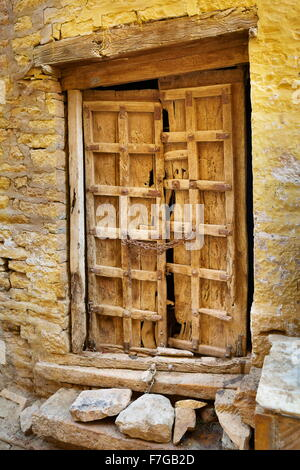 An old closed door, detail, street of Jaisalmer, Rajasthan, India - Stock Photo