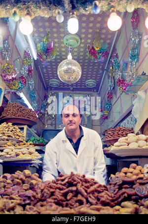 A pastries food stall in the medina at Marrakech. Morocco - Stock Photo