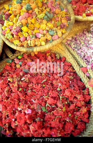 Dried flowers for sale in the medina at Marrakech.Morocco - Stock Photo