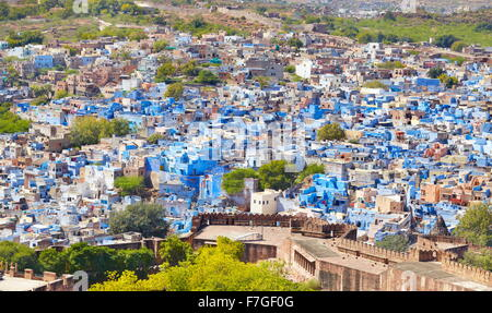 Aerial view of Jodhpur, the Blue City of Rajasthan, India - Stock Photo