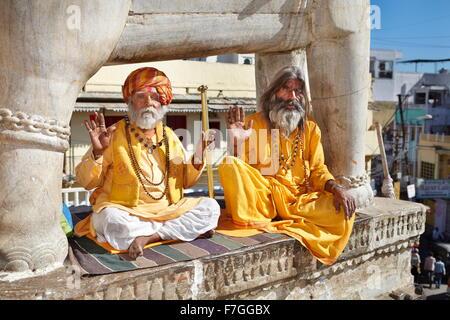 Portrait of Sadhu, India Hindu Holy Man, Udaipur, India - Stock Photo