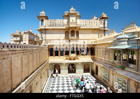 Udaipur - interior courtyard in the Udaipur City Palace, Udaipur, Rajasthan, India - Stock Photo