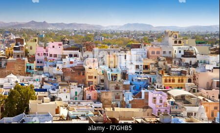 Aerial view of Udaipur town from the City Palace, Udaipur, Rajasthan, India - Stock Photo
