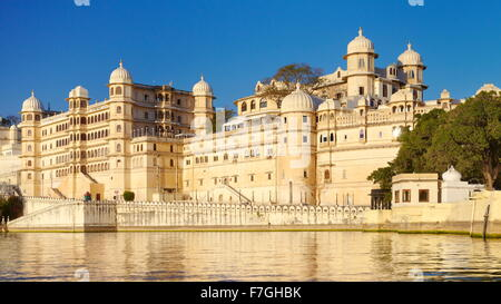 Udaipur - view from the Lake Pichola towards Fateh Prakash Palace Hotel, Rrajasthan, India - Stock Photo